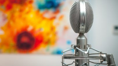 gray microphone in room